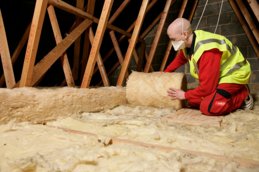 home loft insulation being laid